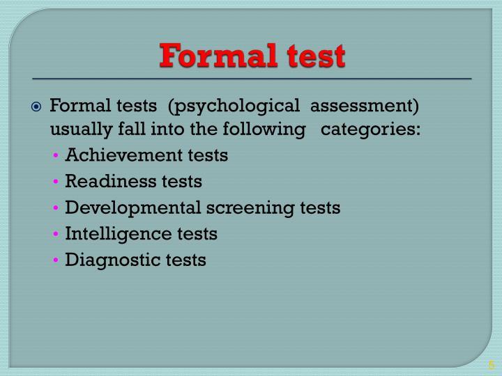 Formal test