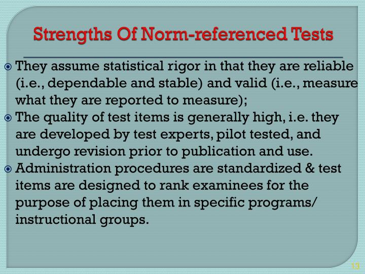 Strengths Of Norm-referenced Tests