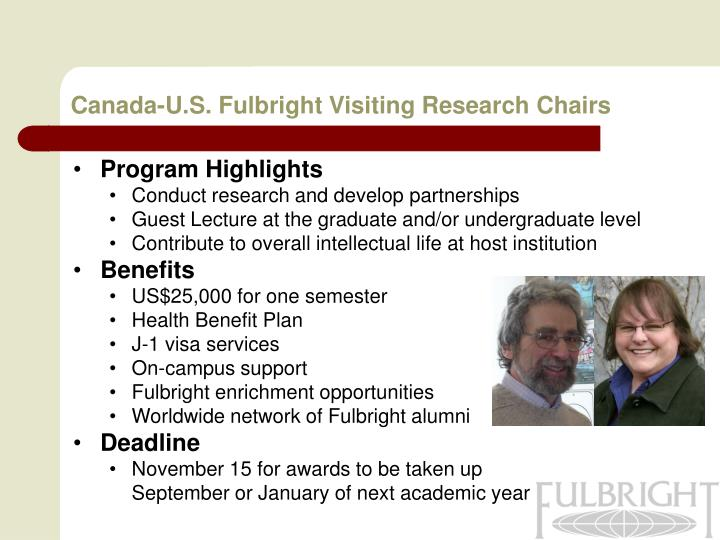 Canada-U.S. Fulbright Visiting Research Chairs