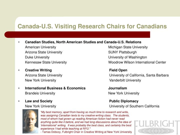 Canada-U.S. Visiting Research Chairs for Canadians