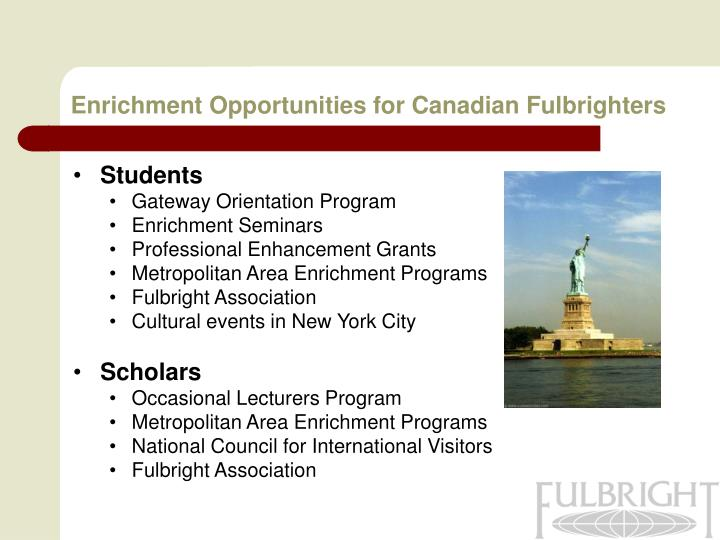 Enrichment Opportunities for Canadian Fulbrighters