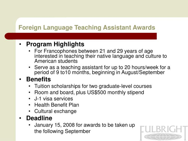 Foreign Language Teaching Assistant Awards