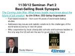 11 30 12 seminar part 2 best selling book synopsis
