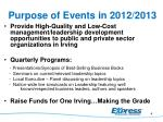 purpose of events in 2012 2013
