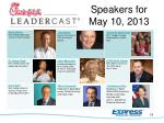 speakers for may 10 2013