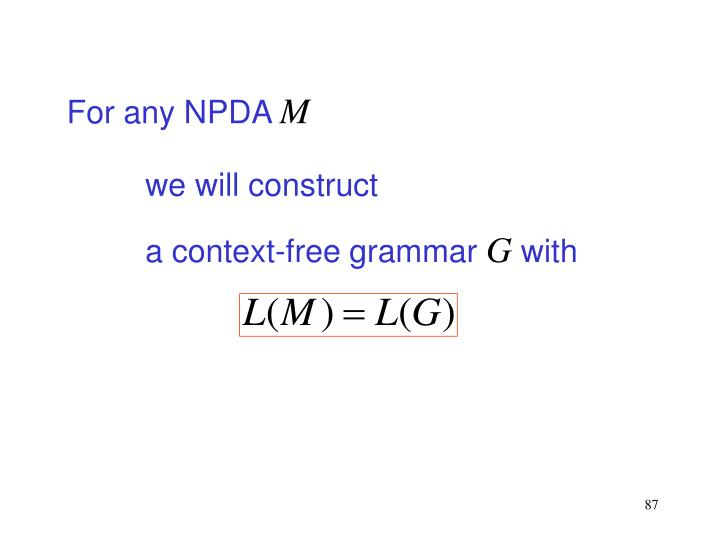 For any NPDA