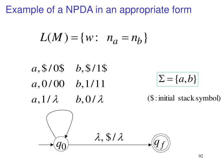 Example of a NPDA in an appropriate form