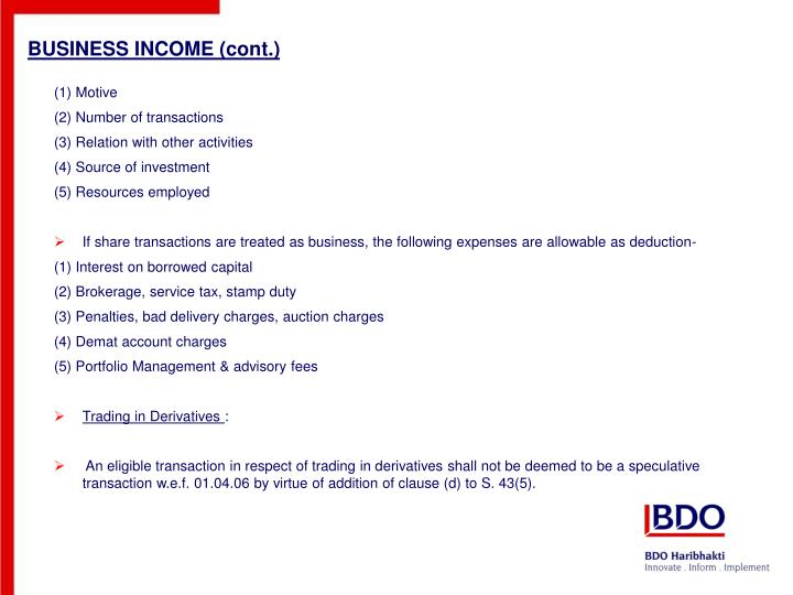 BUSINESS INCOME (cont.)