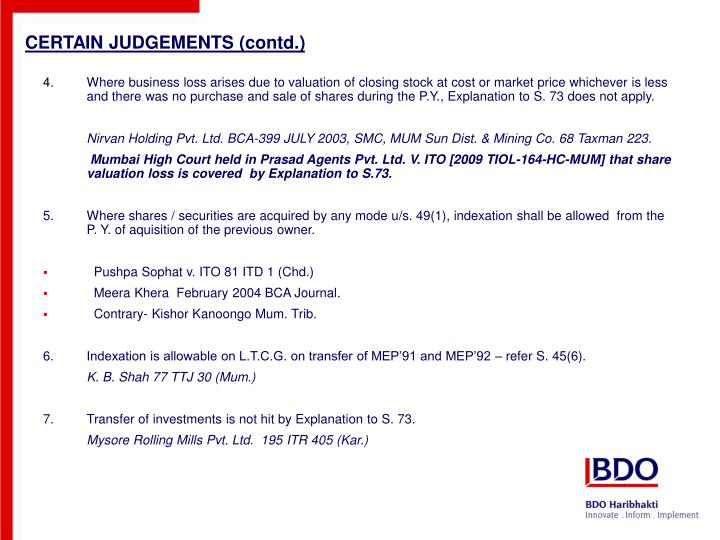 CERTAIN JUDGEMENTS (contd.)