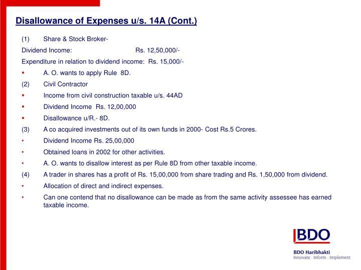 Disallowance of Expenses u/s. 14A (Cont.)