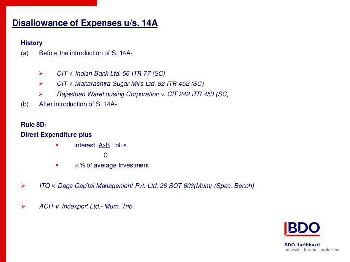 Disallowance of Expenses u/s. 14A