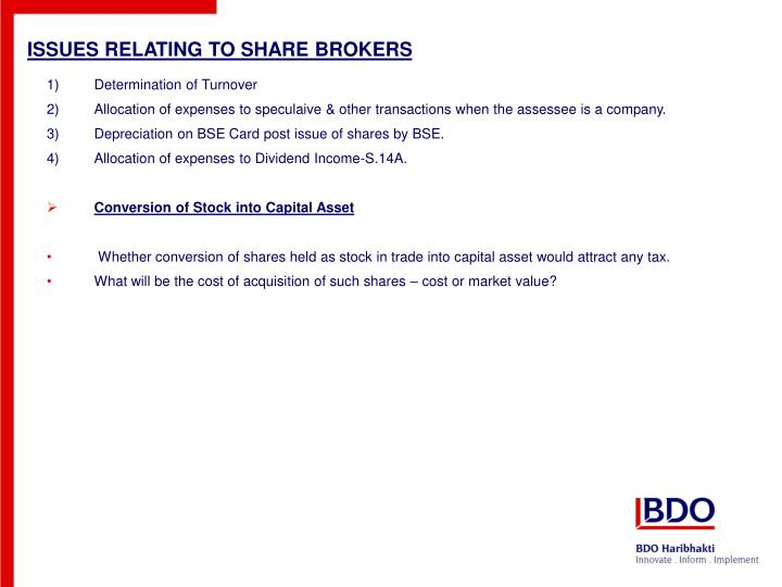ISSUES RELATING TO SHARE BROKERS