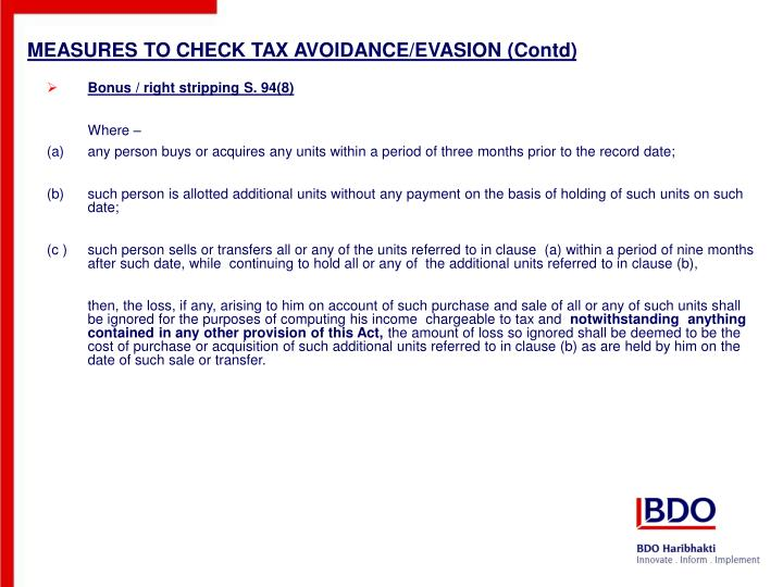 MEASURES TO CHECK TAX AVOIDANCE/EVASION (Contd)