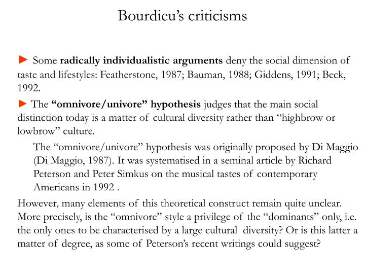 Bourdieu's criticisms