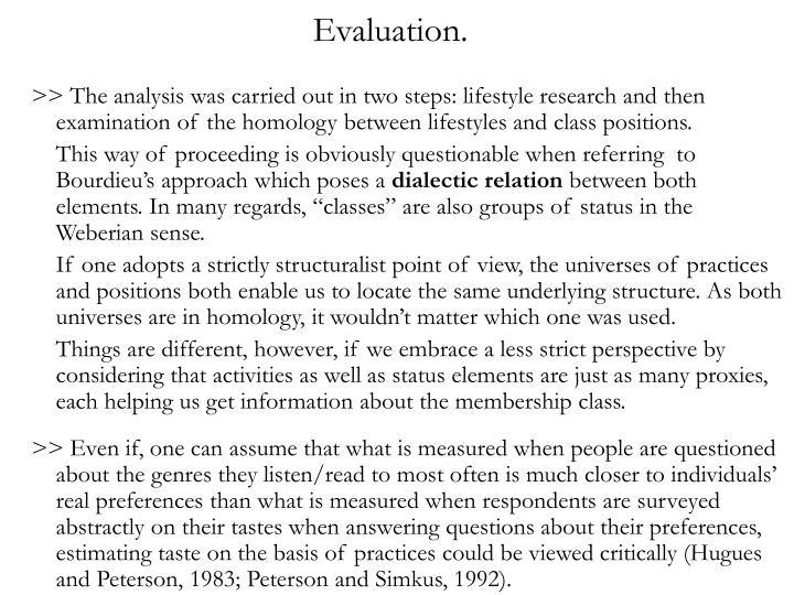 Evaluation.