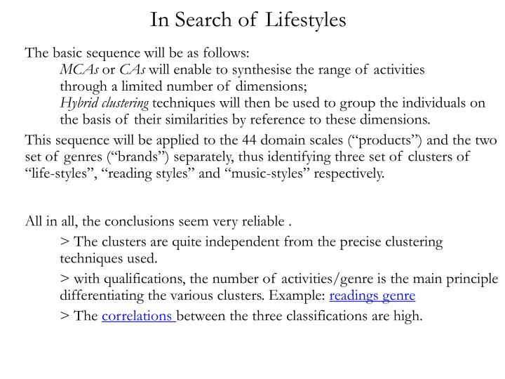 In Search of Lifestyles