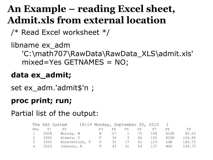 An Example – reading Excel sheet,