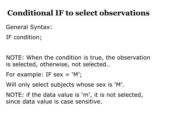 Conditional IF to select observations