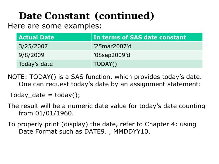 Date Constant  (continued)