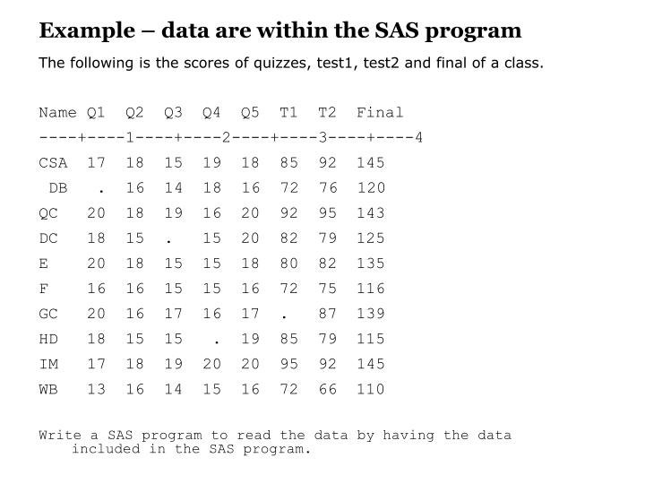 Example – data are within the SAS program