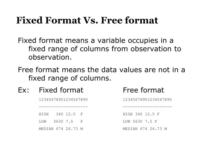 Fixed Format Vs. Free format