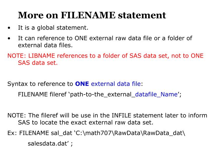 More on FILENAME statement