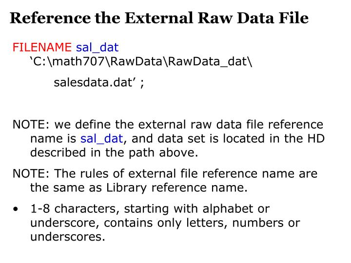 Reference the External Raw Data File