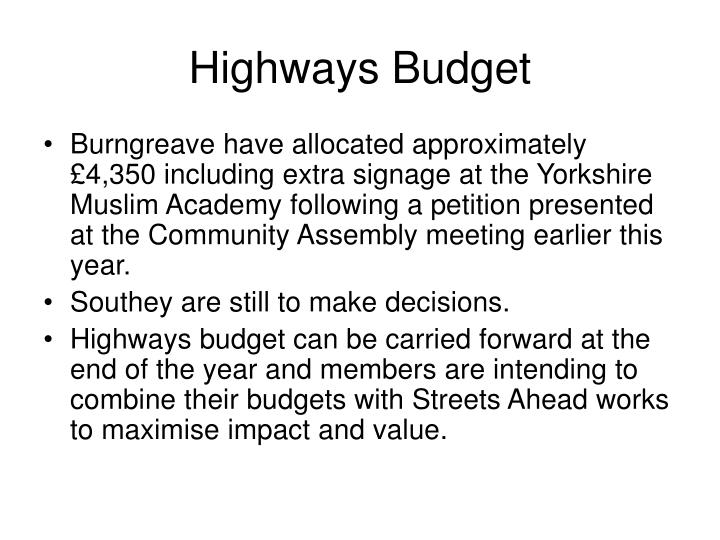 Highways Budget
