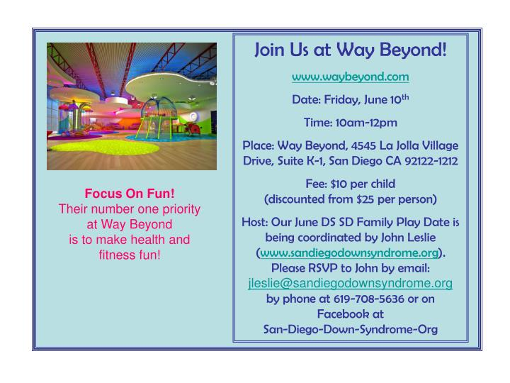 Join Us at Way Beyond!