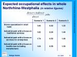 expected occupational effects in whole northrhine westphalia in relative figures
