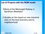 list of projects with the remi model