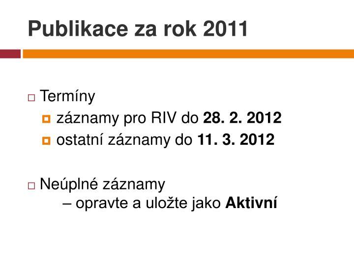 Publikace za rok 2011