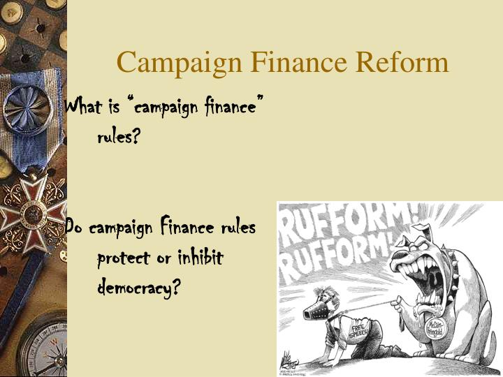 the debate over campaign finance regulations Read this full essay on regulations on campaigns: campaign finance reform occupants are normally preferred subsidized and better known over their challengers, so making it harder for all applicants to raise and use cash frequently puts newcomers off guard.