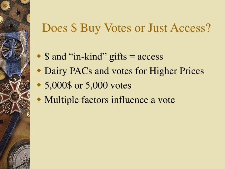 Does $ Buy Votes or Just Access?