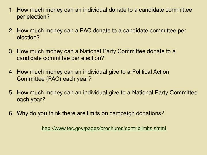 How much money can an individual donate to a candidate committee per election?