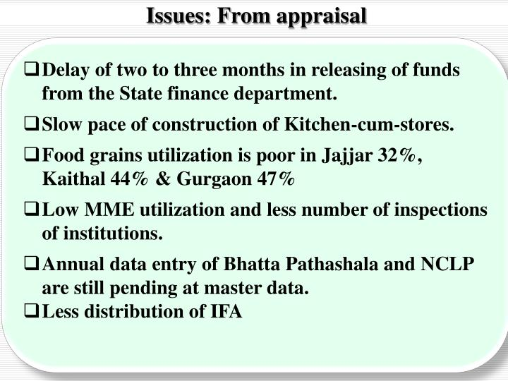 Issues: From appraisal