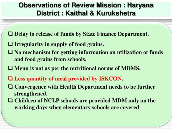 Observations of Review Mission : Haryana
