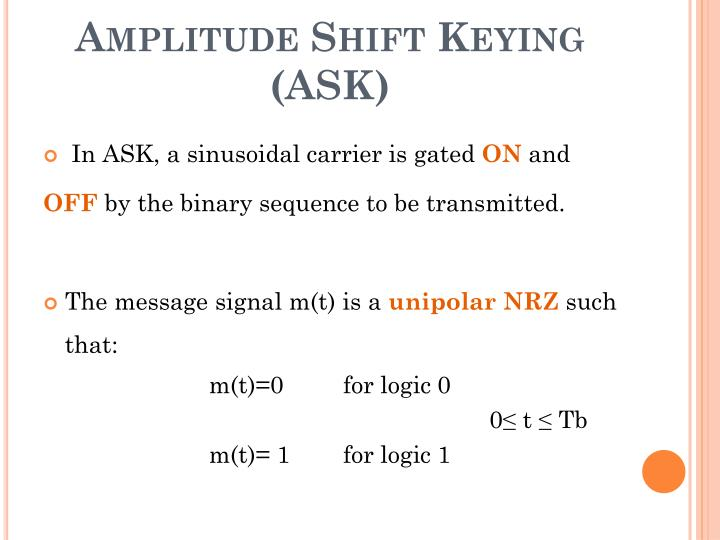 Amplitude shift keying ask