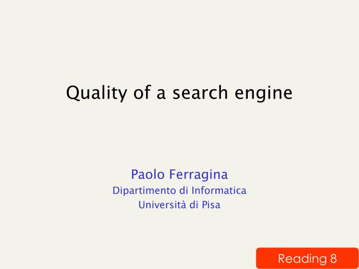 Quality of a search engine
