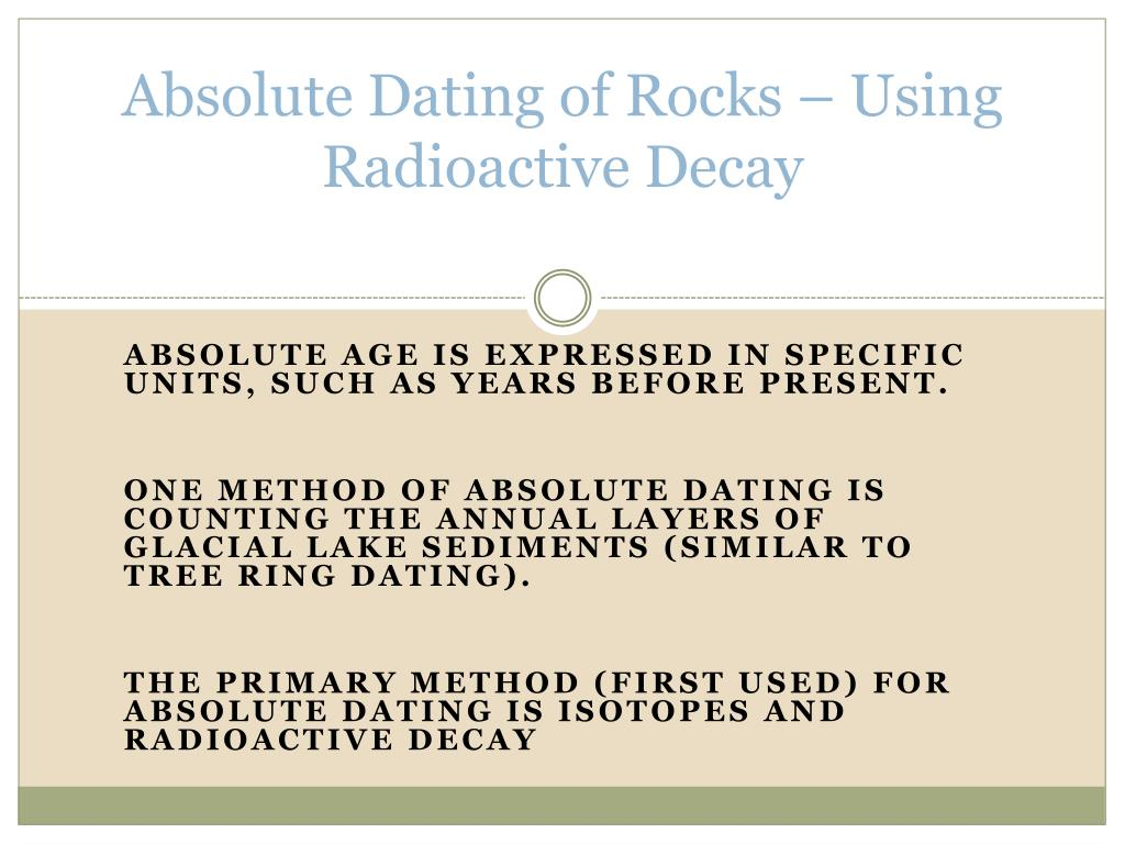 different methods of absolute dating