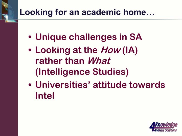 Looking for an academic home…