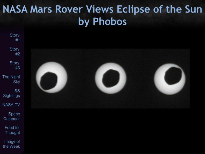 NASA Mars Rover Views Eclipse of the Sun by Phobos