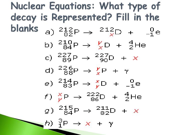 Nuclear Equations: What type of decay is Represented? Fill in the blanks