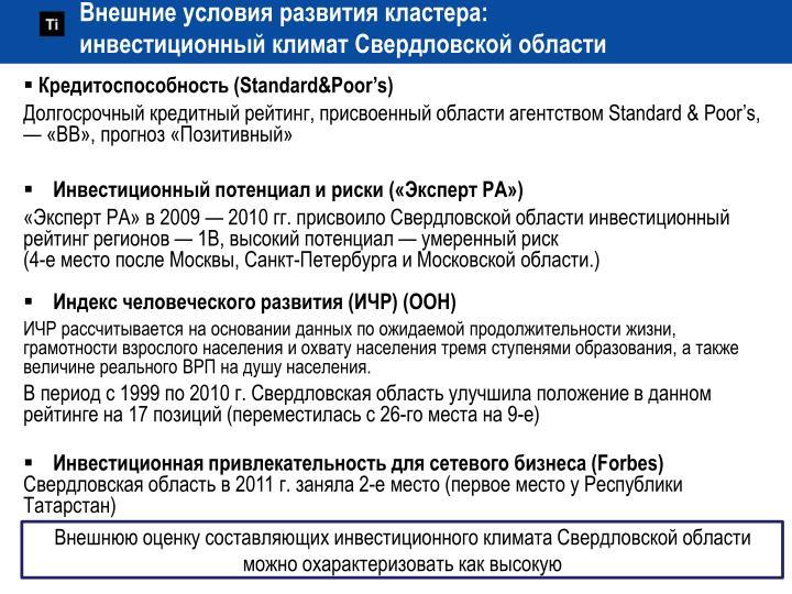 Внешние условия развития кластера: инвестиционный климат Свердловской области