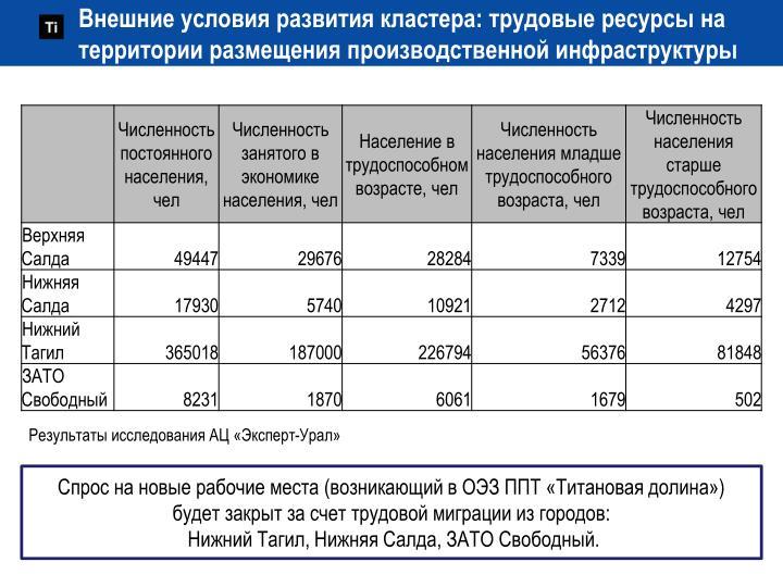 Внешние условия развития кластера: трудовые ресурсы на территории размещения производственной инфраструктуры