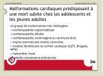 malformations cardiaques pr disposant une mort subite chez les adolescents et les jeunes adultes