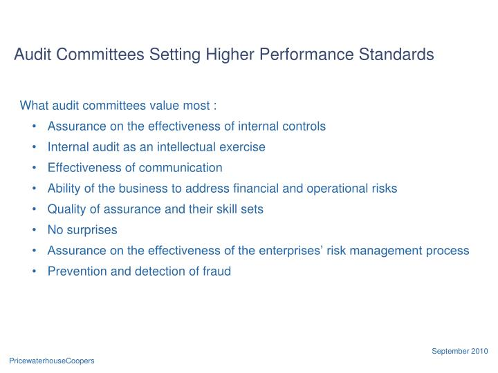 Audit Committees Setting Higher Performance Standards