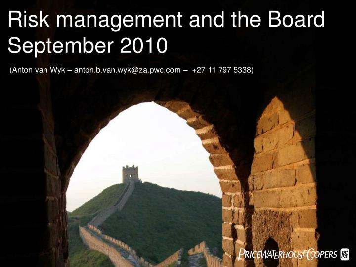 Risk management and the Board