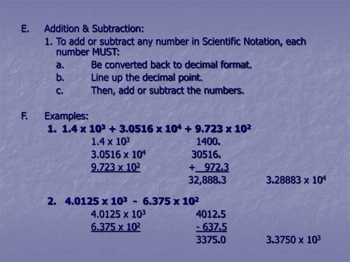 E.Addition & Subtraction: