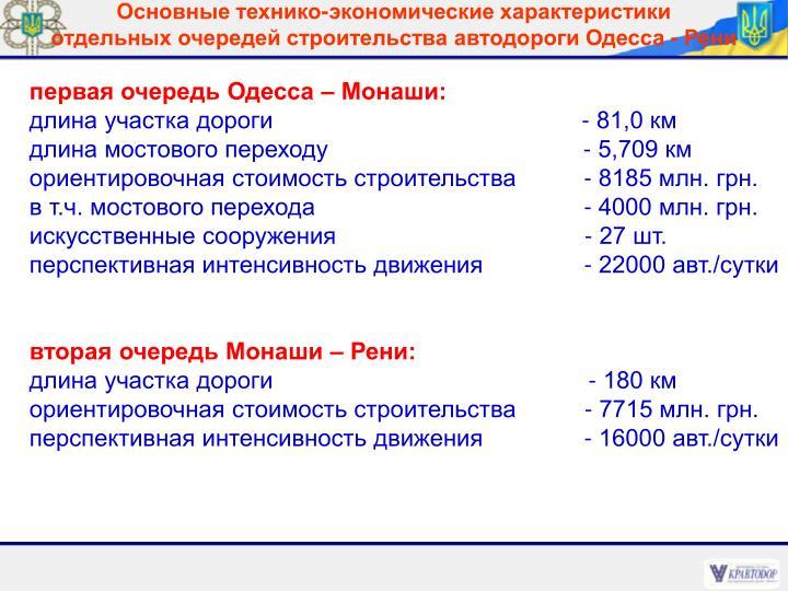 первая очередь Одесса – Монаши: